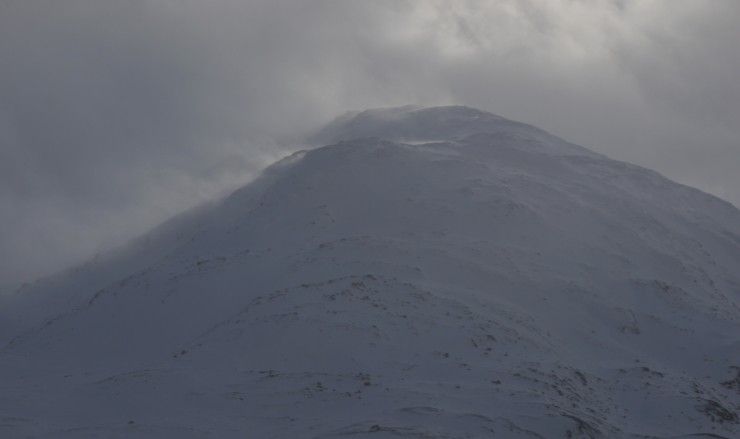 Part of the Creag Mhor ridge today during one of the blustery snow showers.