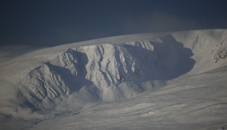 Coire nan Gall - a Creag Meagaidh outlier just above the A86. Holding a lot of snow.