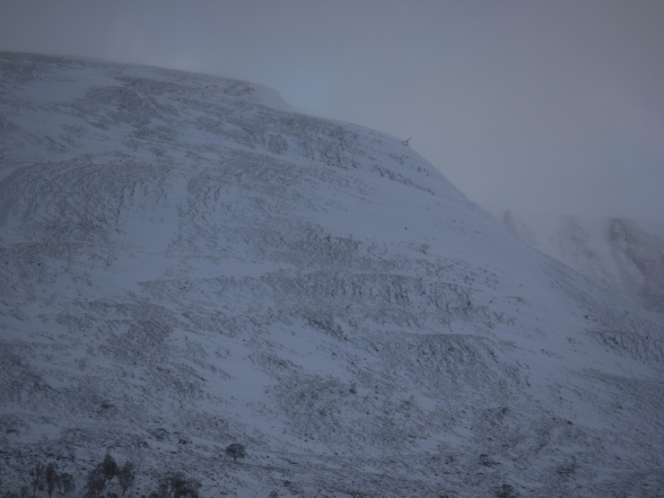 Ridge line of Coire nan Gall. Small mark on skyline denotes today's pit site