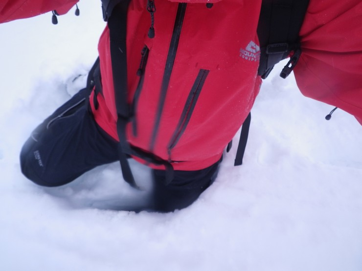 Main trail to Coire yet to be fully forged! Another post hole - trail breakers welcome.....