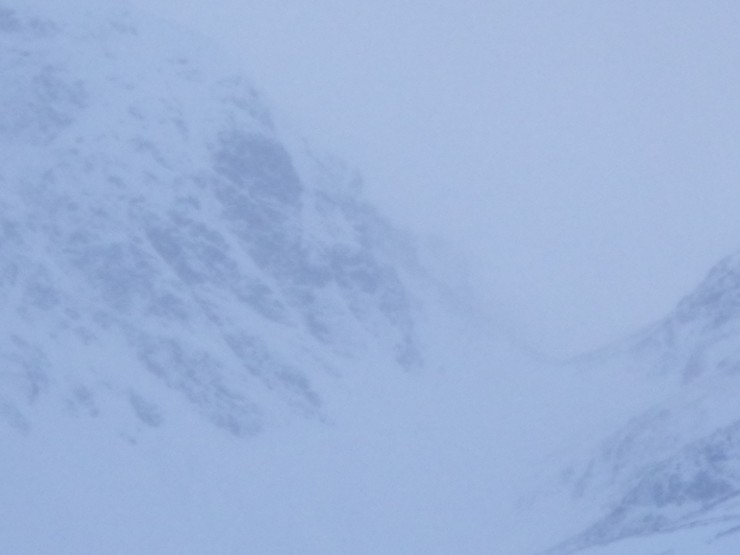 The Inner Coire Adair and 'The Window'. Crags still plastered with fresh.