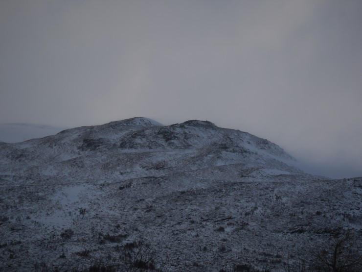 En route to Coire nan Gall: Na Cnapanan at 600m. Drifting and scouring