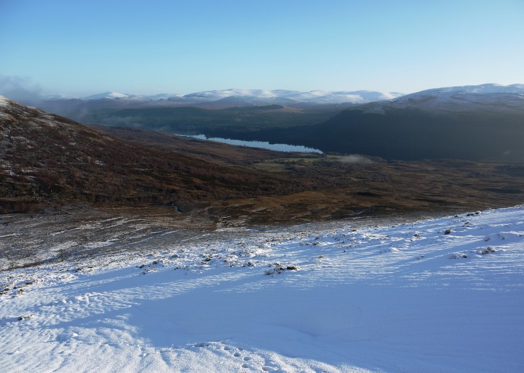 Loch Laggan and the Gaick hills in the far distance. Mist had cleared when we came off the hill.