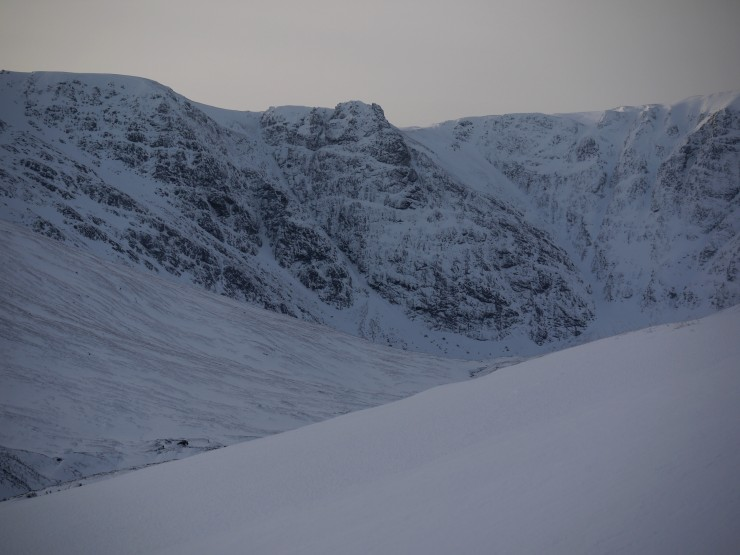 Pinnacle and Bellevue Buttresses from entry slopes to Coire Chriochairein.