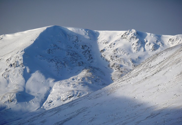 Coire Chriochairein - the site of today's pit. Line of cornices on the left ridgeline.