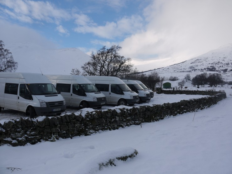 Plas y Brenin  were at Creag Meagaidh in numbers today - all 5 minibuses.