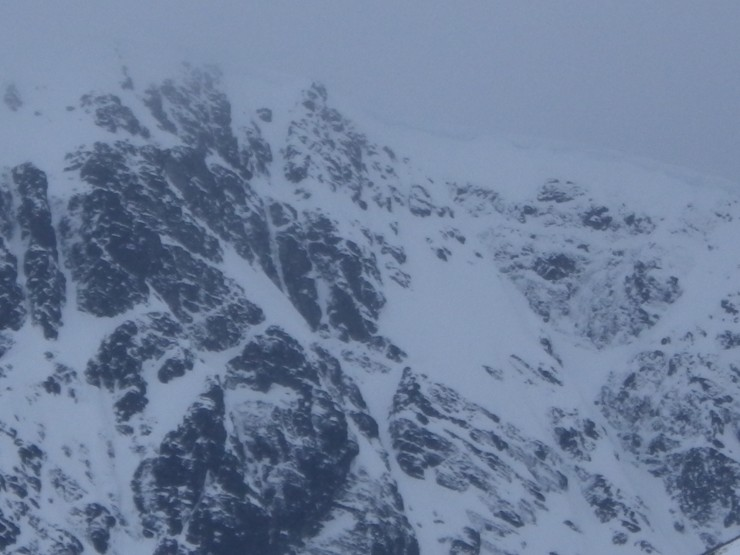 Inner Coire Ardair. 'The Pipes' top left of photo. Some largish cornices still present. Some improvement in stability and hopefully bit more ice build up on horizon
