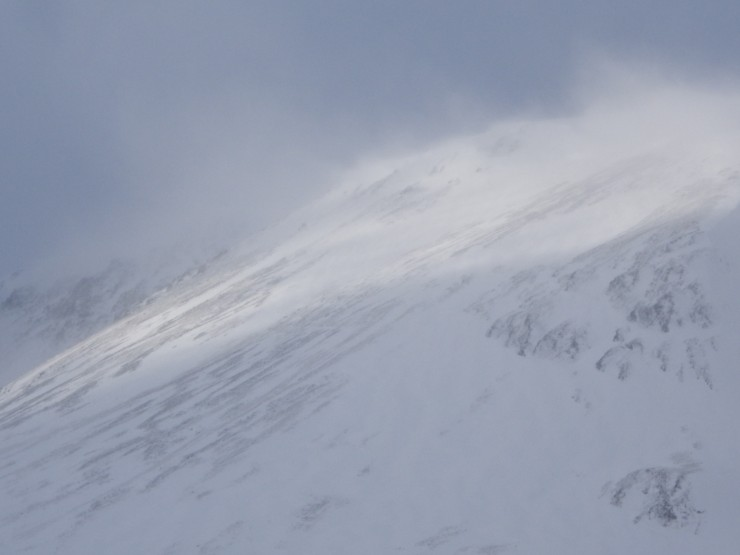 Spindrift blowing from high ridgelines for much of the day