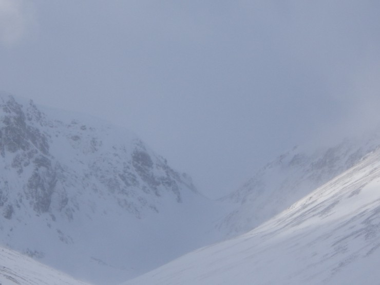 Views of Meagaidh's 'window' today, seen between the showers.