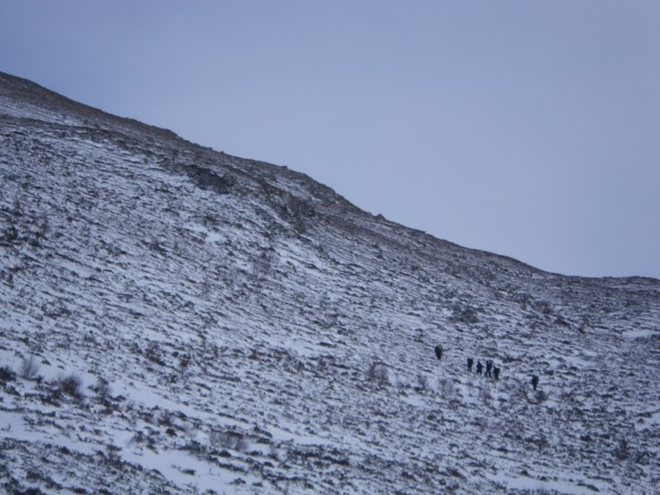 Mountaineering group heading up Cairn Liath direction