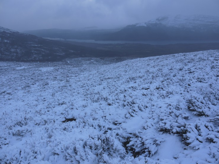 Looking down to a steely grey Loch Laggan during a snow shower.