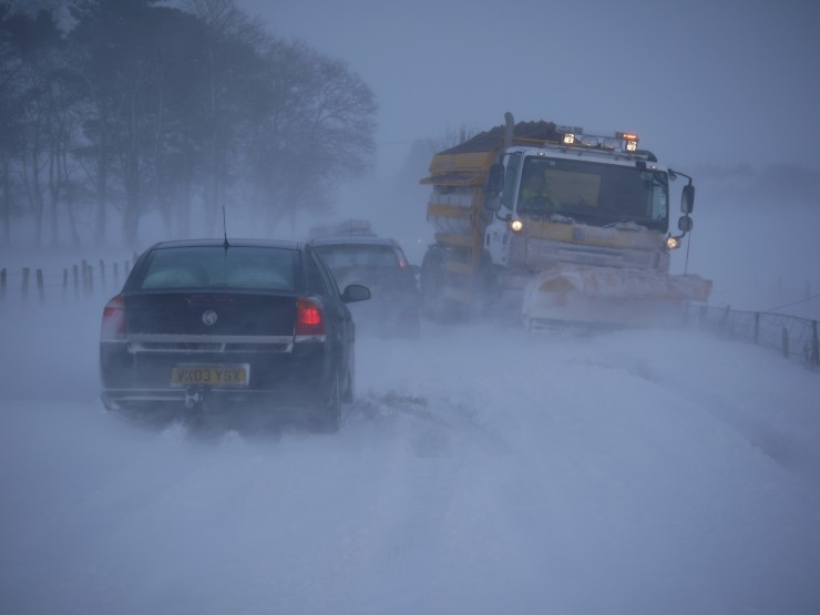 Even the snowplough couldn't stay on the road this afternoon.