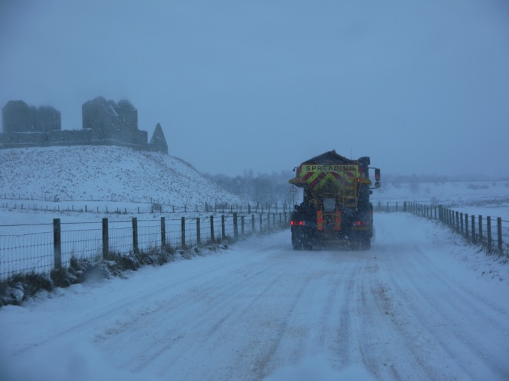 Heavy snowfall  overnight nr home. White roads even after the snow plough! Ruthven Barracks in the background.