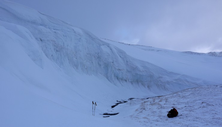 ...an hour and a half later at 850m. Different weather and a bemusing glacial-like world near the formal pit site.