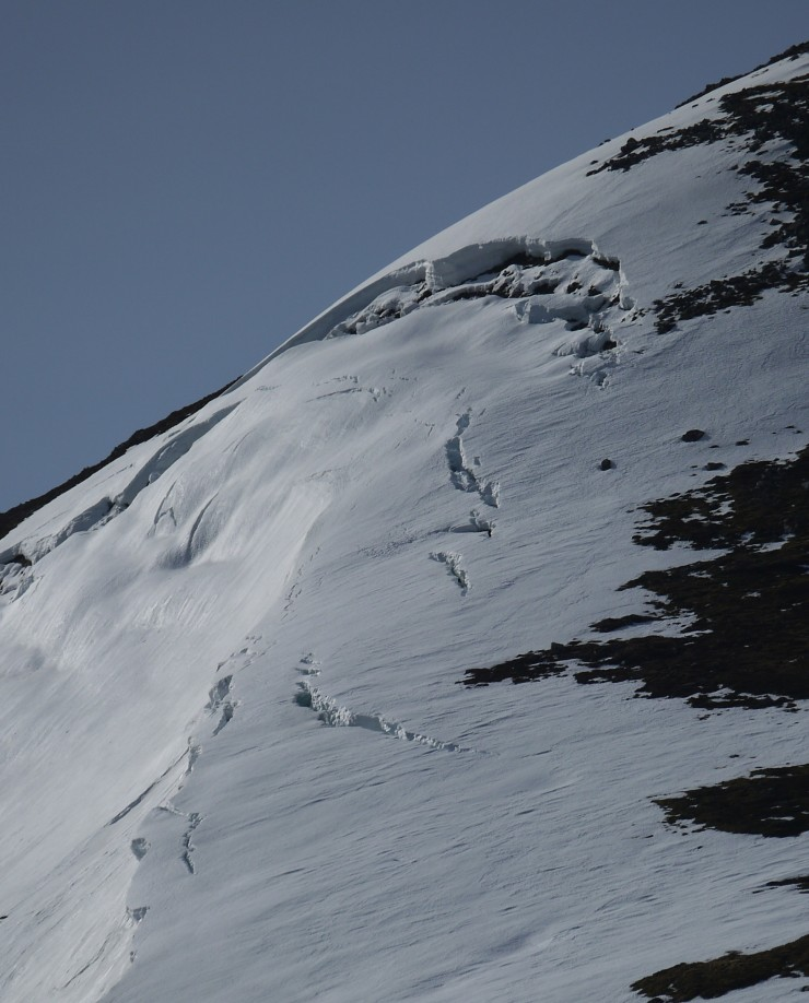 Quite a few Scottish 'bergshrunds' opening up  behind larger cornice lines.
