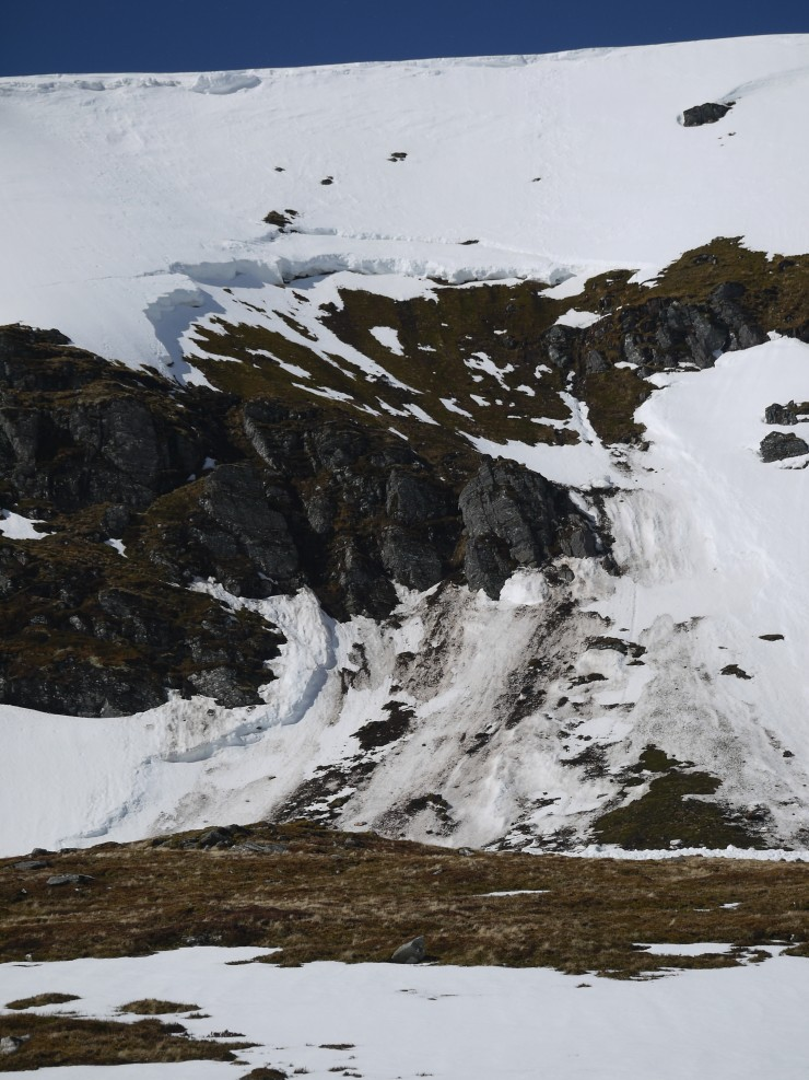 Second full depth avalanche in the coire below An Cearcallach.