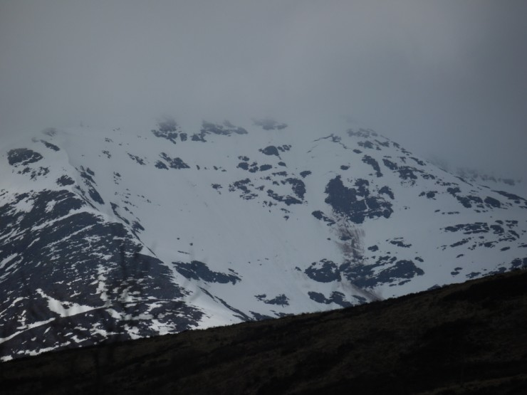 Beinn a Chaorainn 6th April. Crown & track of full depth avalanche visible.