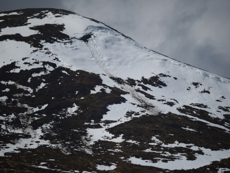 Partial full depth avalanche on Sron a Ghoire (again!). This slid on Sunday.