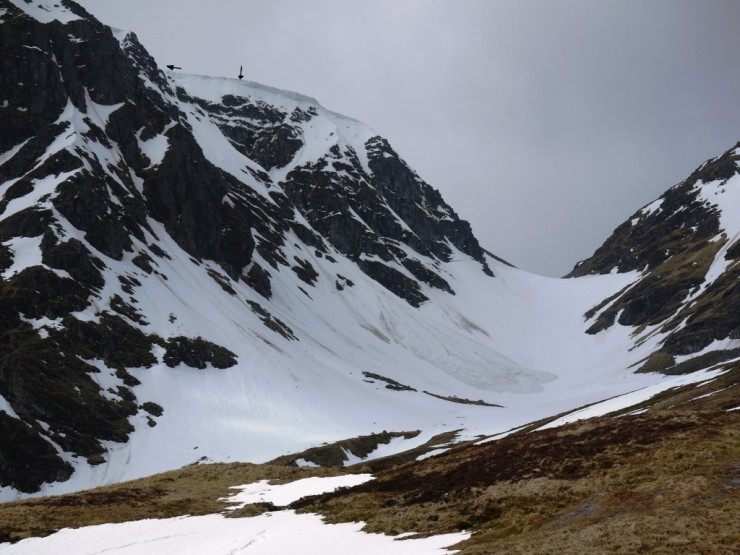 Cornice debris below 'Cinderella' in the Inner Coire. Arrows mark the section of cornice that collapsed.