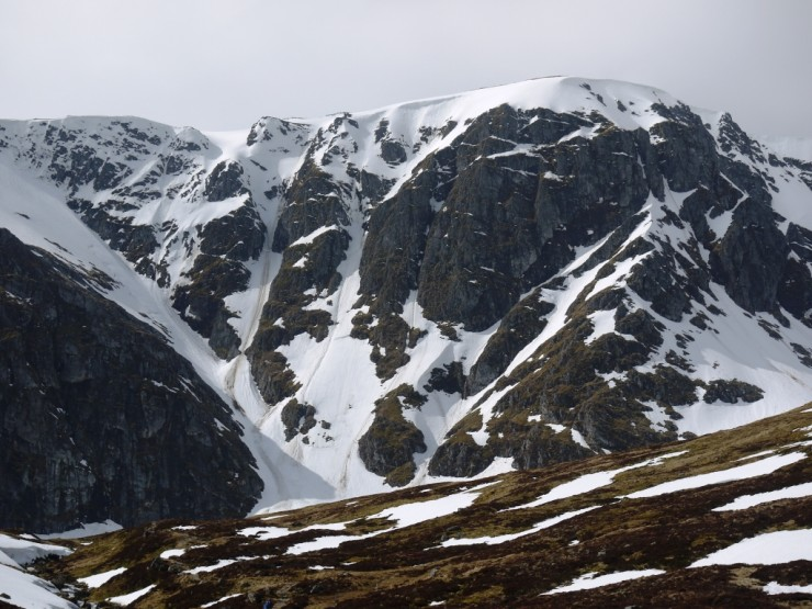 The Post Face of Coire Ardair. Stripped of ice but still with deep snow in all gullies.