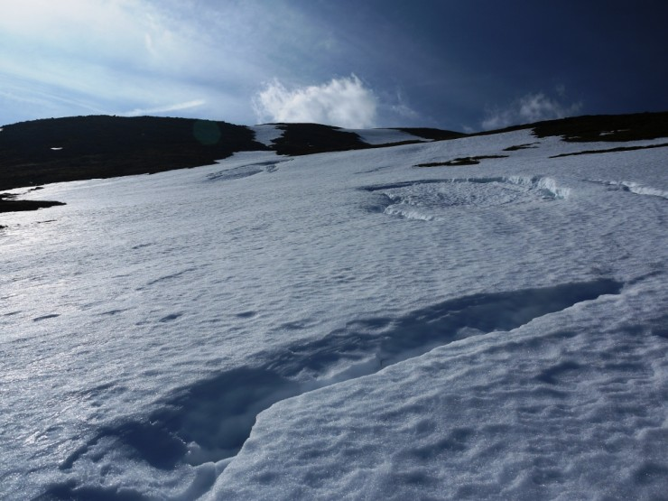 We have quite a few of these burn lines that are full of snow and extend downhill to about 600m.