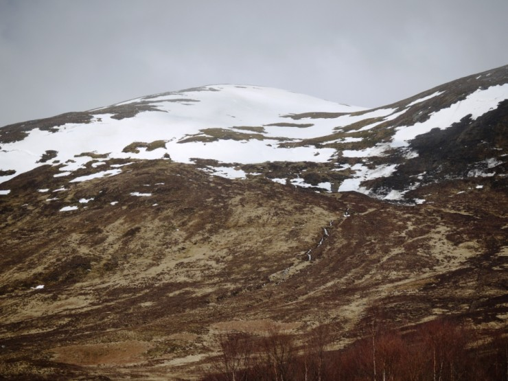 Lowest snow patch on Sron a Ghoire now at 420m.