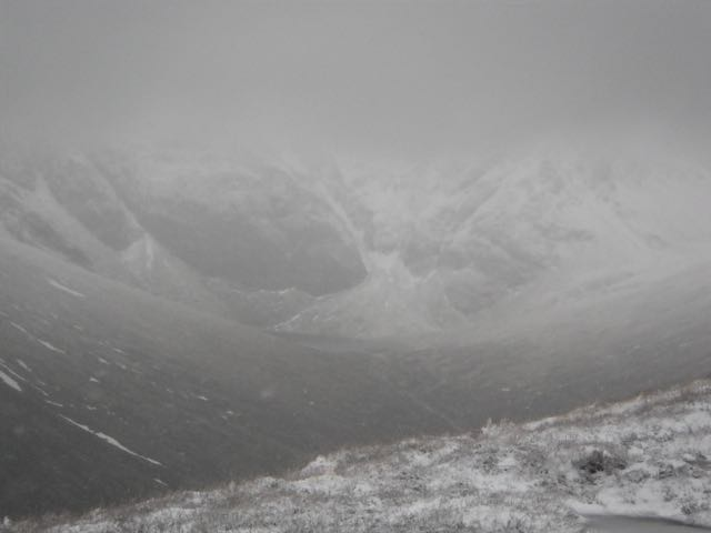 Looking into a fairly gloomy Coire Ardair.