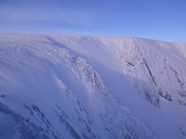 Corrie nan Gall. The slope in the centre of this picture has done particularly well for accumulating windslab.