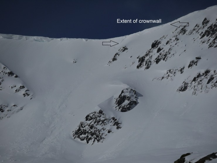 Crownwall of cornice triggered dry slab avalanche today in Coire Chriochairein.