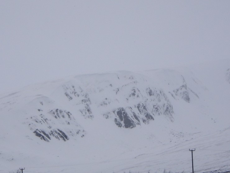 Coire na Gall from A86 - Cornices building