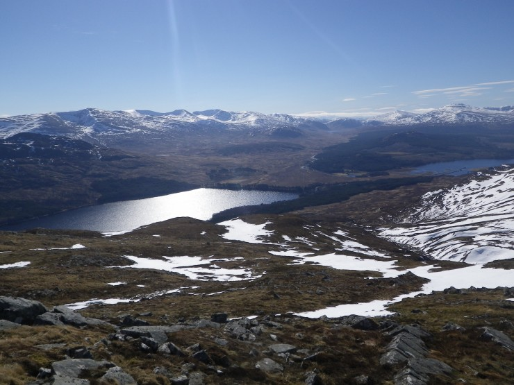 Looking back down Creag Mhor ridge to Loch Laggan - pretty snow free!