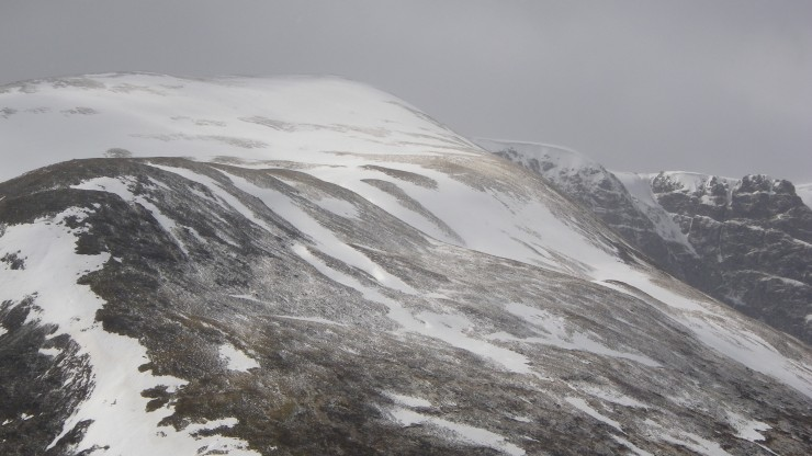 Sron a Ghoire - with a dusting of fresh above 800. A few snowfields remaining on highest slopes