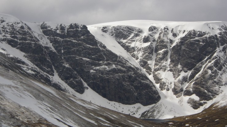Creag Meagaidh,Coire Ardair - from Raeburn's Gully (L of shot) Easy Gully (c) with Staghorn ramp leading to the The Pipes (r)